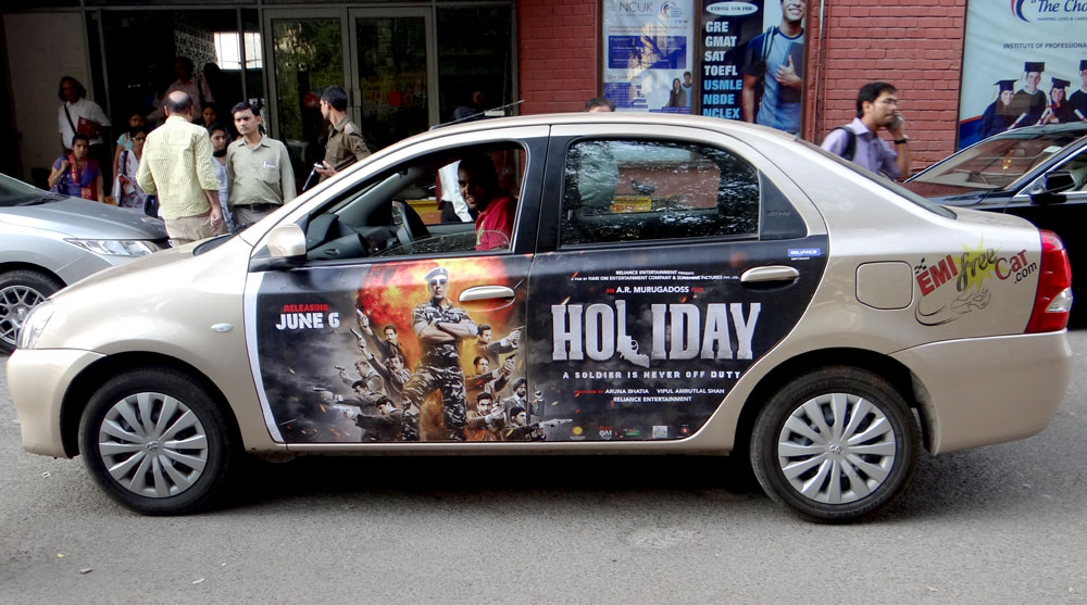 Akshay Kumar's Holiday Movie car Advertisement in New Delhi India